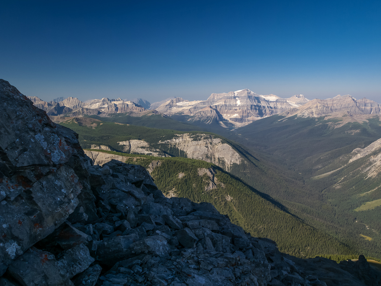 Views towards Mount Ball and Shadow Lake from under the flake.