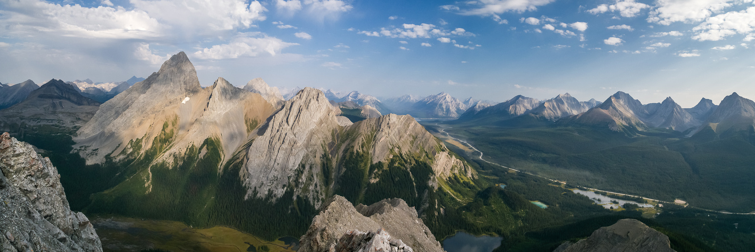 One more pano includes Burstall Lakes, Hogarth Lake and Mud Lake - and Mount Chester at far right.