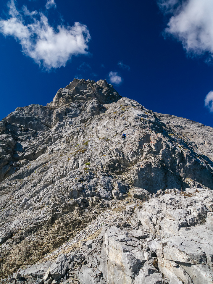 Some detours are required to climber's left to avoid over hanging sections of ridge.