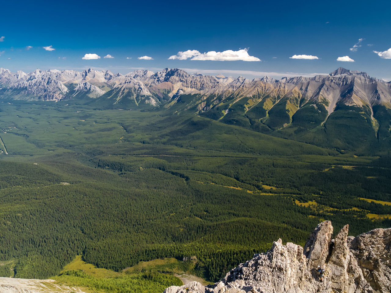 Looking over the crux to the Opal, Highwood and Elk Ranges.