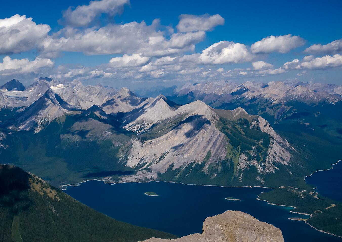 Looking over the Turret and Upper Kananaskis Lake to Mount Indefatigable, Invincible, Warspite, Nomad, Hermione Peak