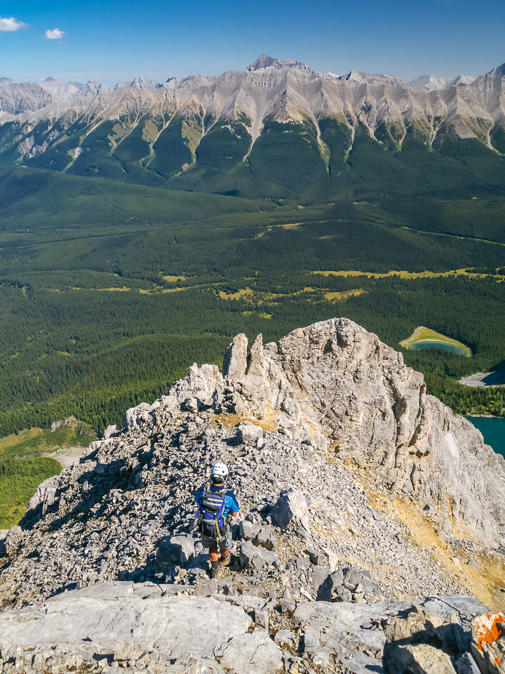 Heading down loose terrain on the NE ridge.