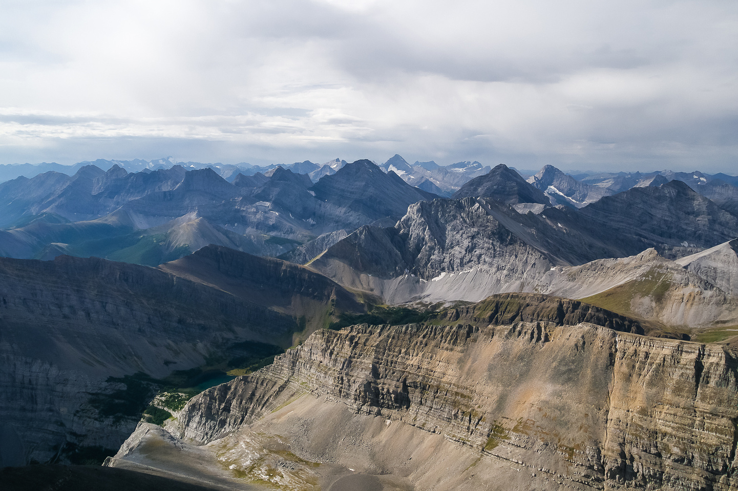 Looking to the Spray Range over Ribbon Lakes (L).