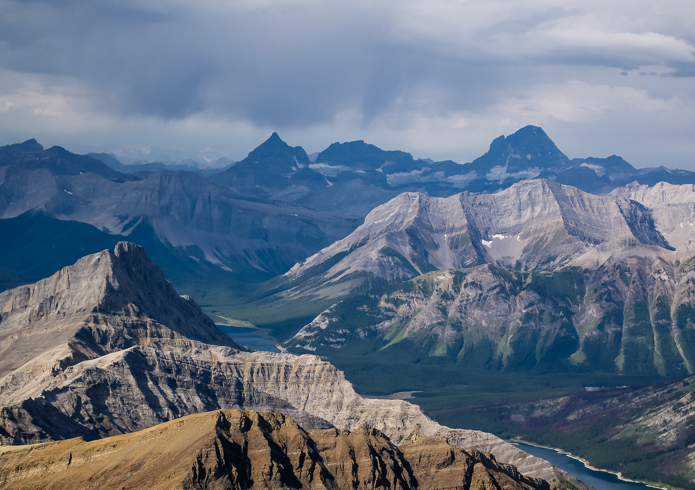 Great views of Aye, Eon and Assiniboine over Cone Mountain.