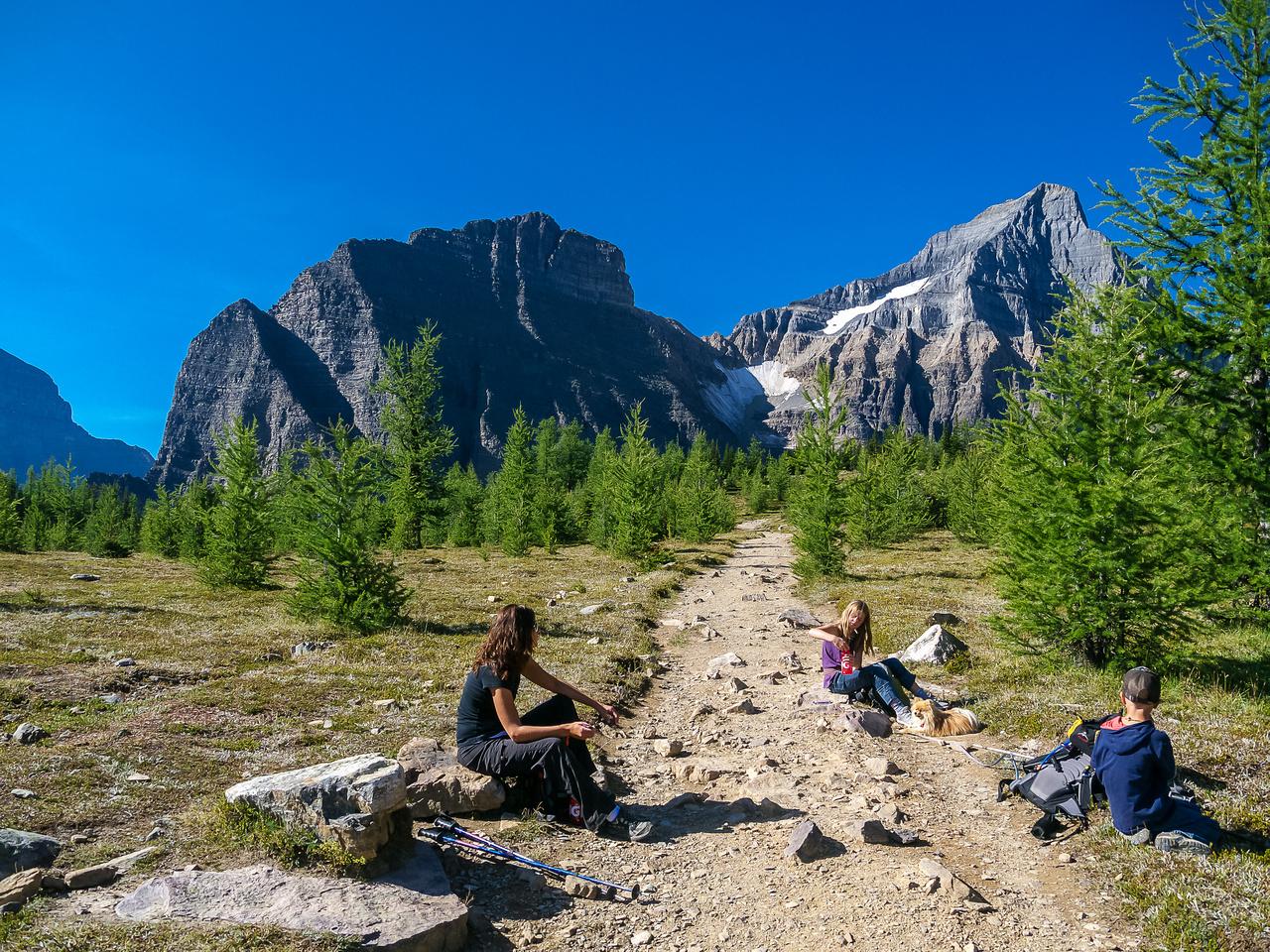 Taking a break at Saddleback Pass looking at Sheol Mountain (L) and Haddo Peak (R).