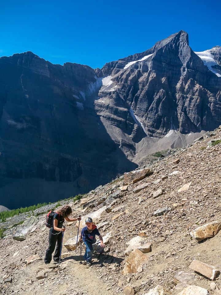 The terrain is still loose despite the trail.