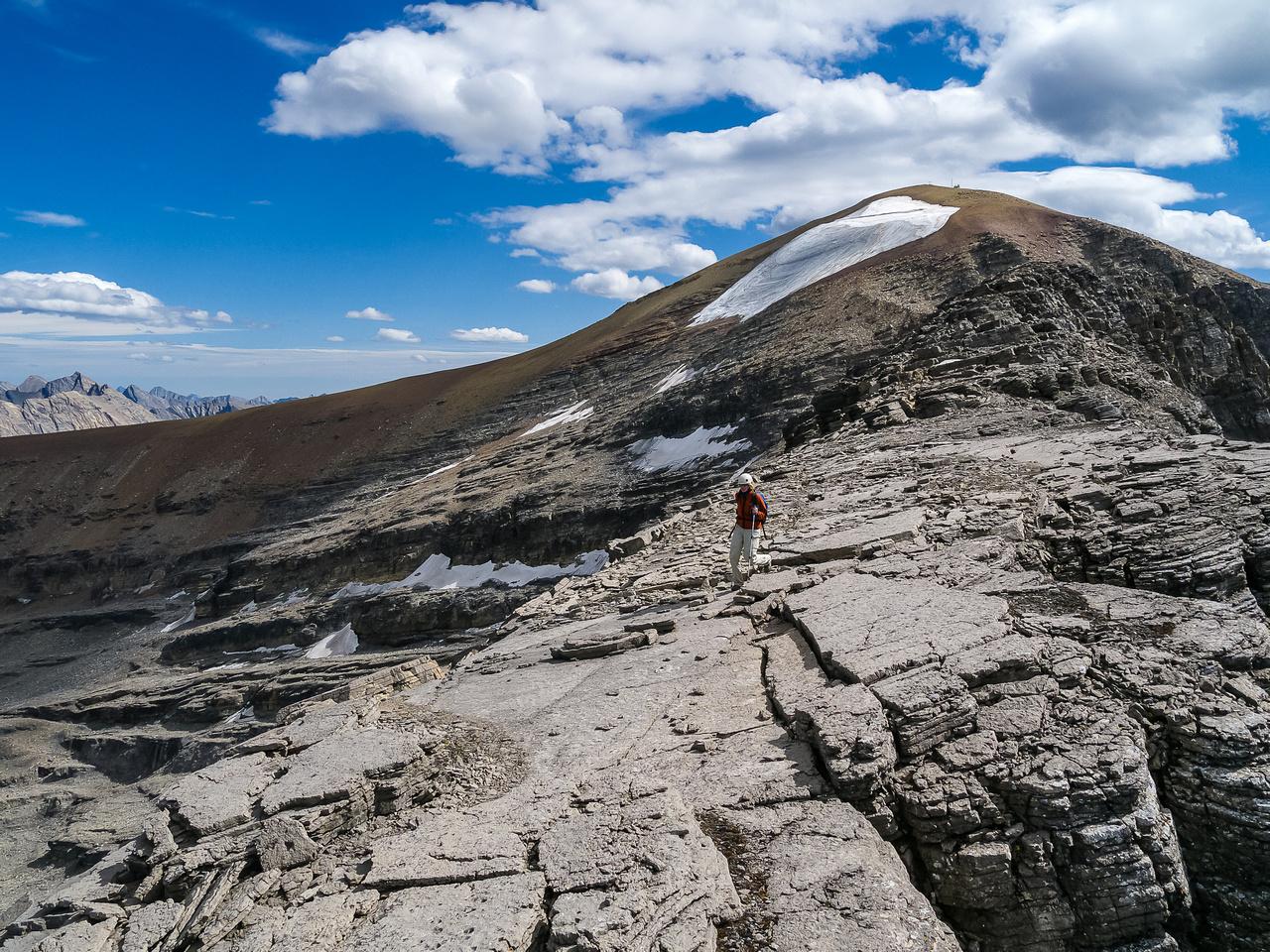 Descending the north ridge.