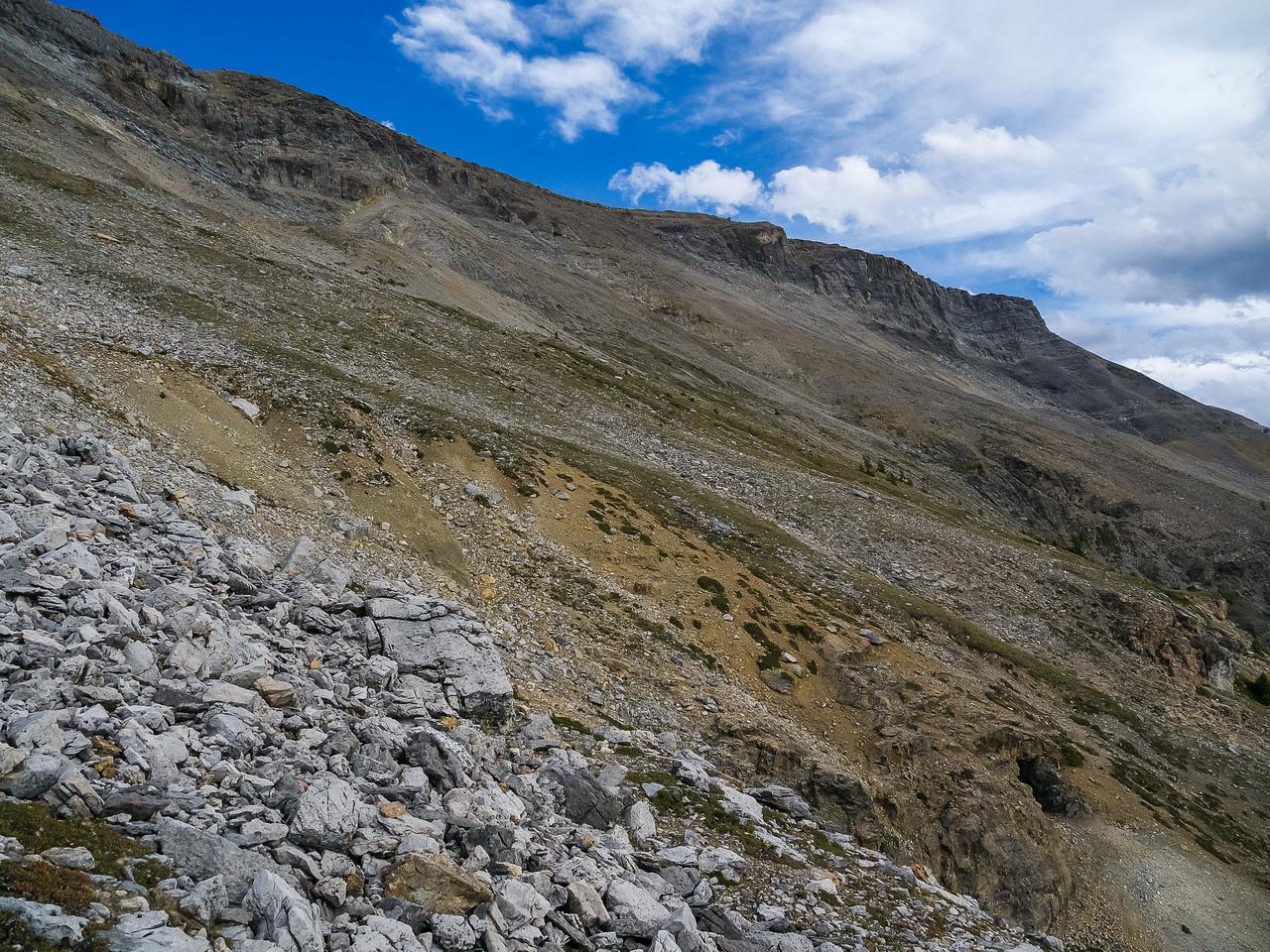 Descending the west face.