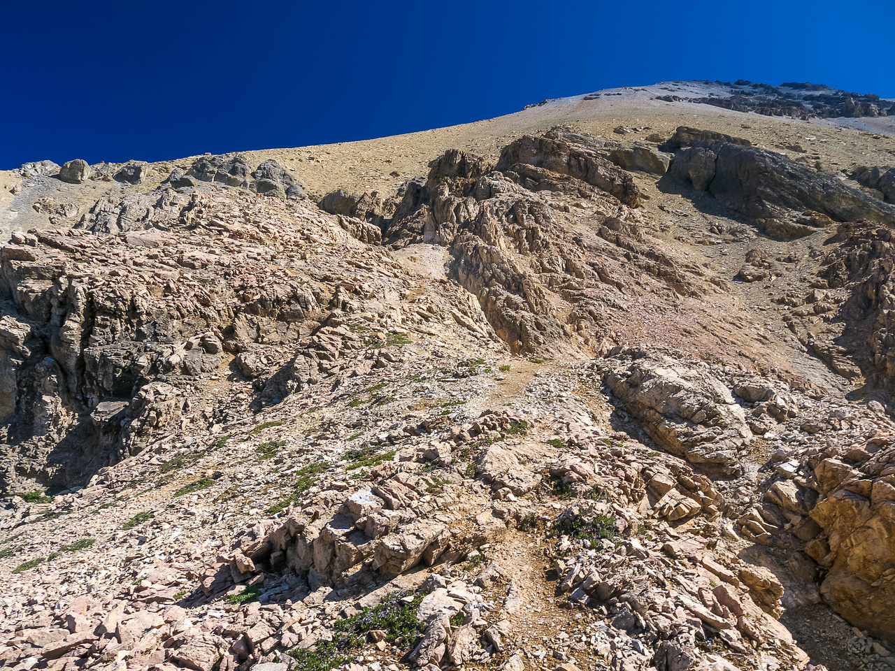 More easy scree slopes up to the summit ridge.