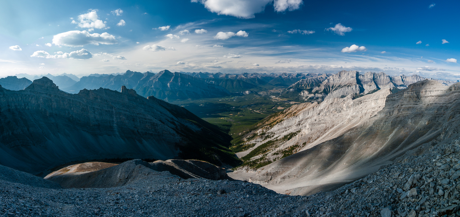 Views down the access drainage towards Rundle (L) and Cascade (R) with Banff at center.