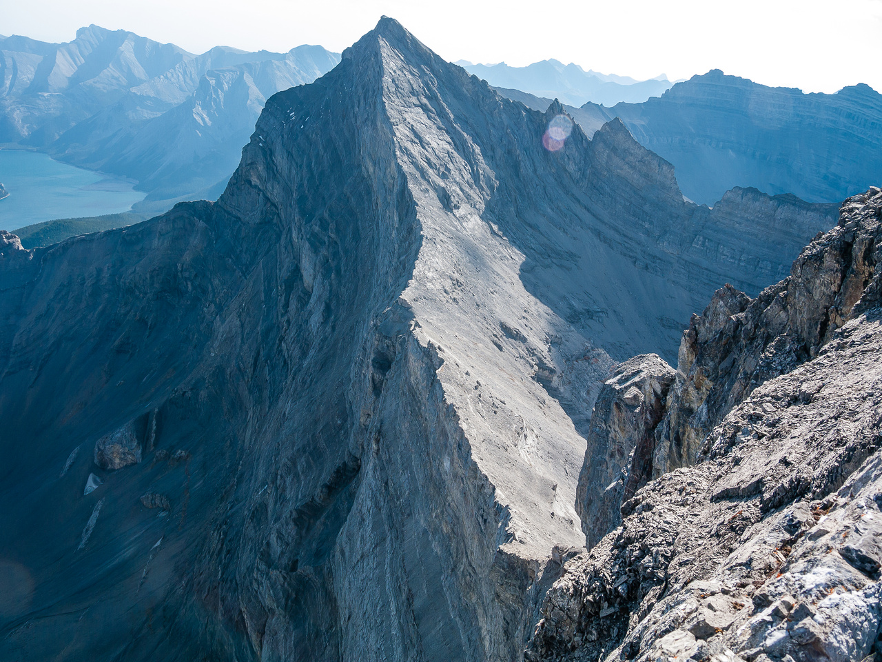 Mount Girouard looks impressive from the summit of Inglismaldie! So does the east face / cliff.