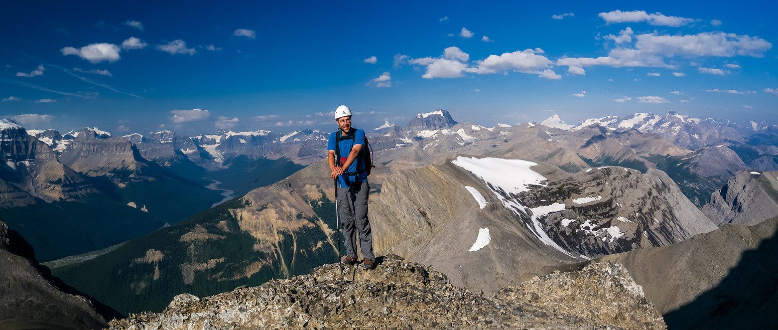 Eric poses on the ascent ridge - spectacular views towards the Columbia Icefield opening up behind us now.