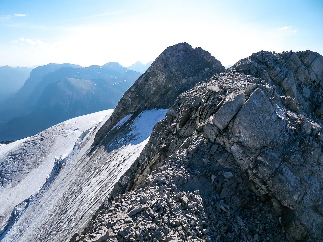 The summit ridge stretches before us - the glacier route joining on the left.