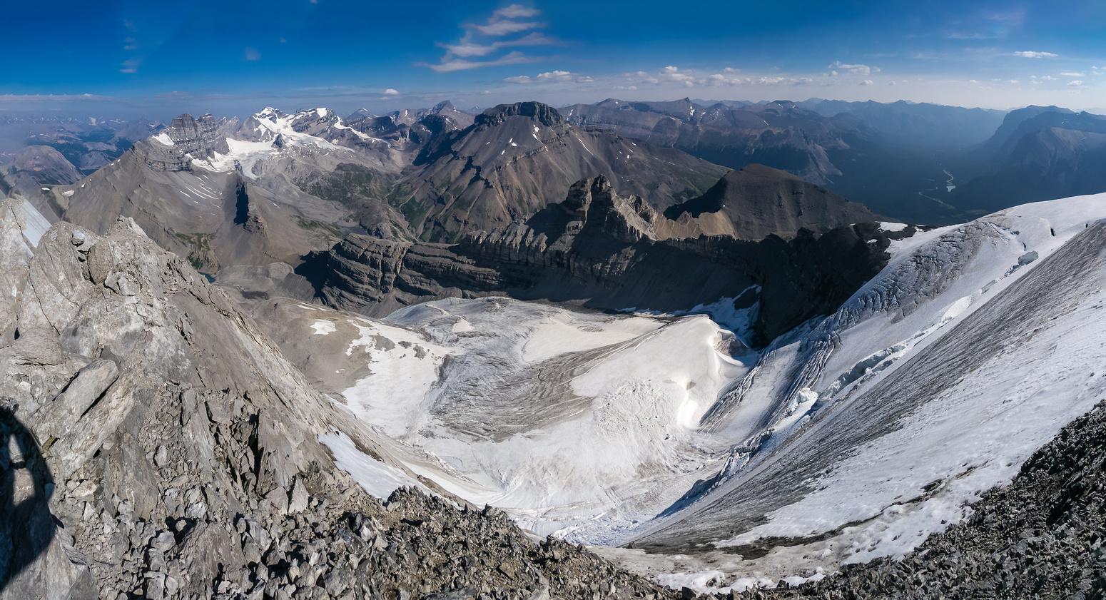 Views down the Coleman Glacier towards Cirrus.