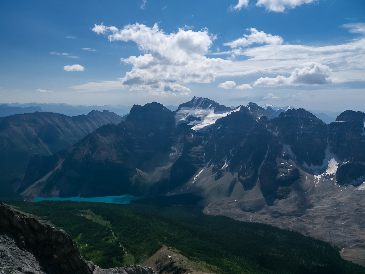 Looking over Moraine Lake to Panorama Ridge, Babel, Fay, Little, Bowlen and Tonsa.