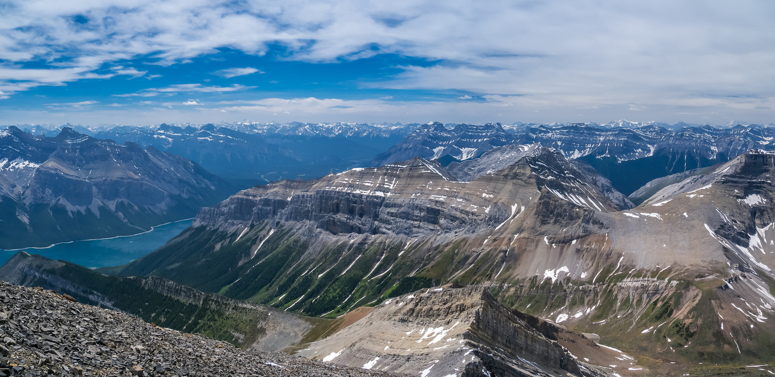 Views over our long ascent route and back to Lake Minnewanka.