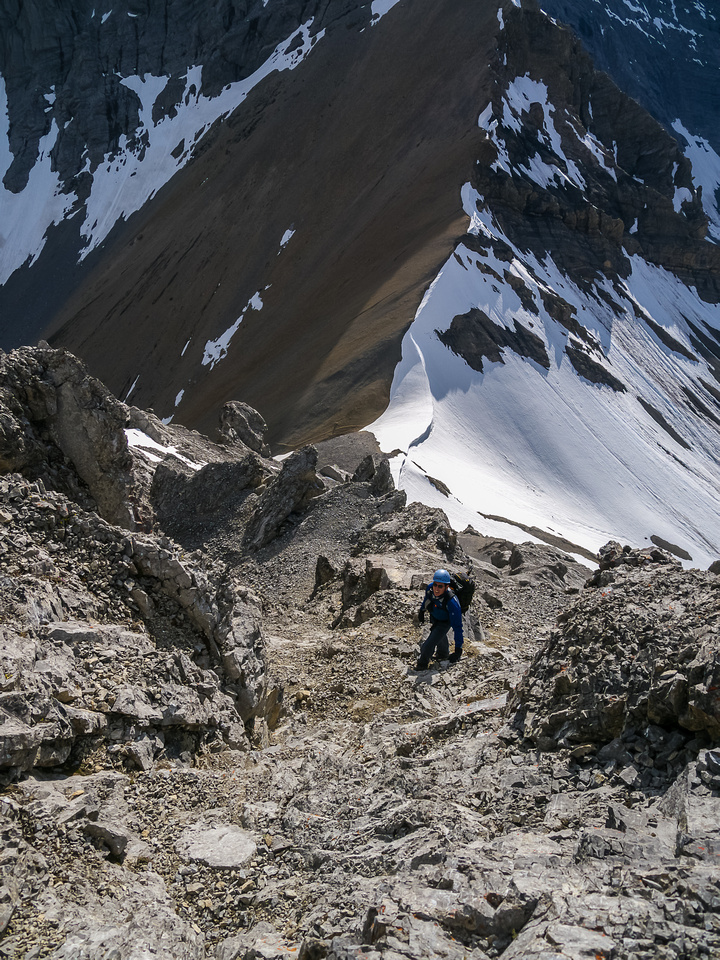 The only real scrambling is a moderate series of loose scree on ledges.