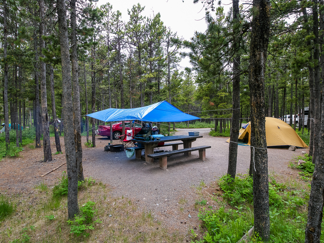 Back at the campsite in the Crandell Lake Campground