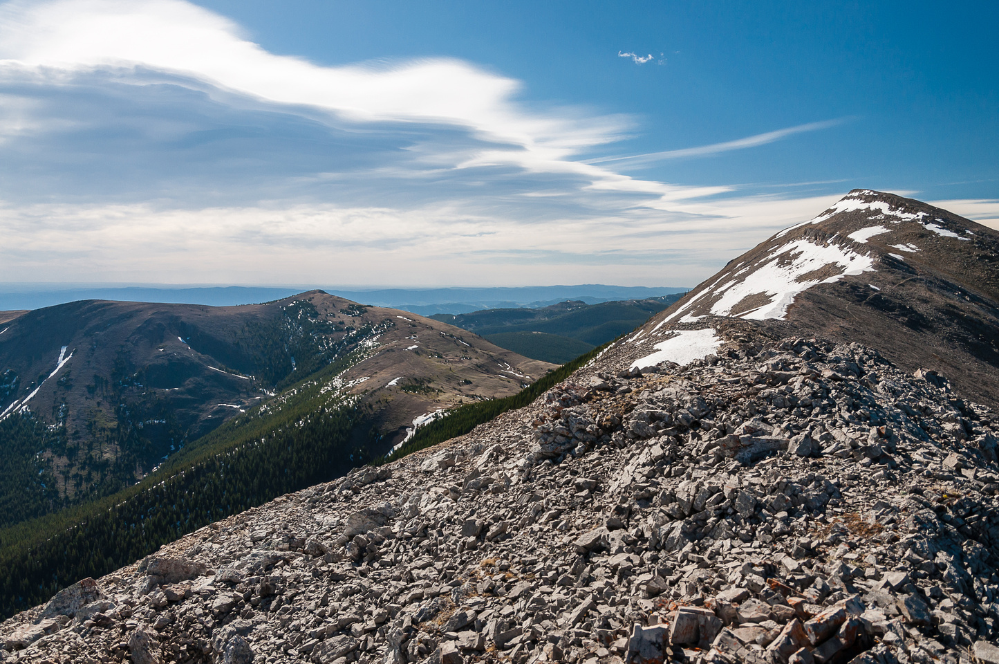 Traversing the north ridge of Coffin.