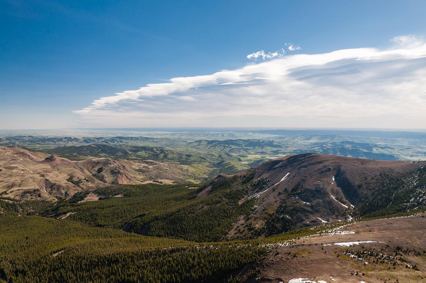 Great views to the prairies down Riley Creek past Sheep Mountain (R).