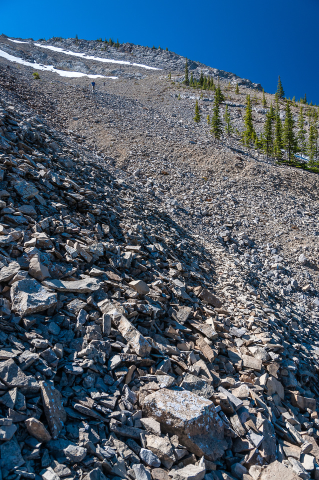The lower descent scree slope. You can spot the ridge we ascended on, high above the scramblers on the skyline.