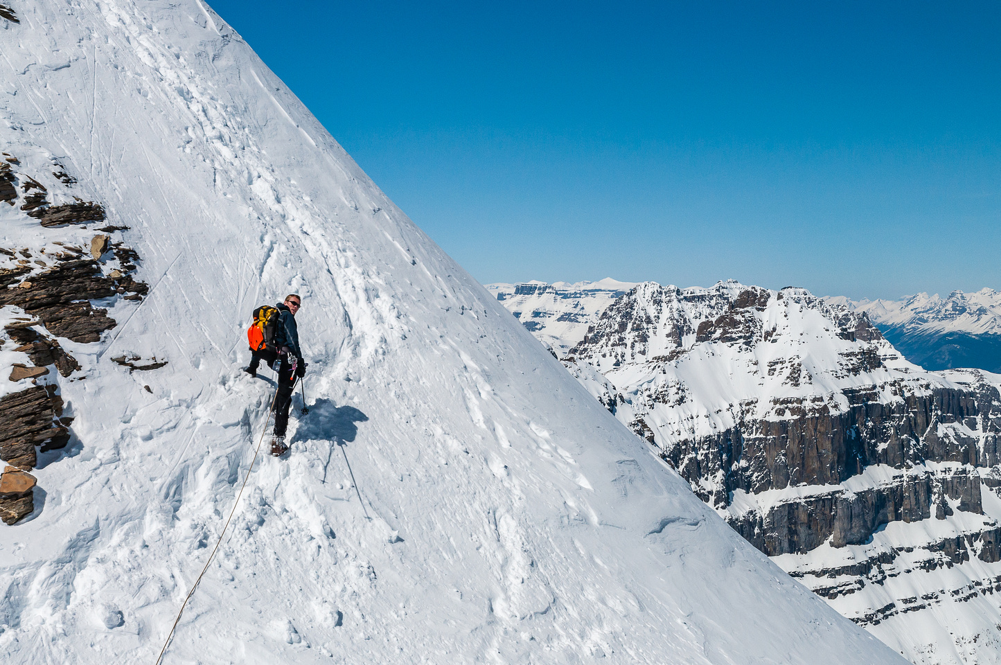 Reascending the notch on the west ridge.