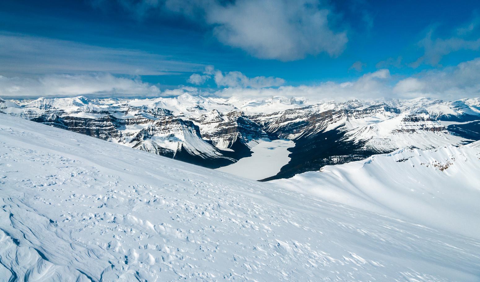 Skinning the upper Hector Glacier.