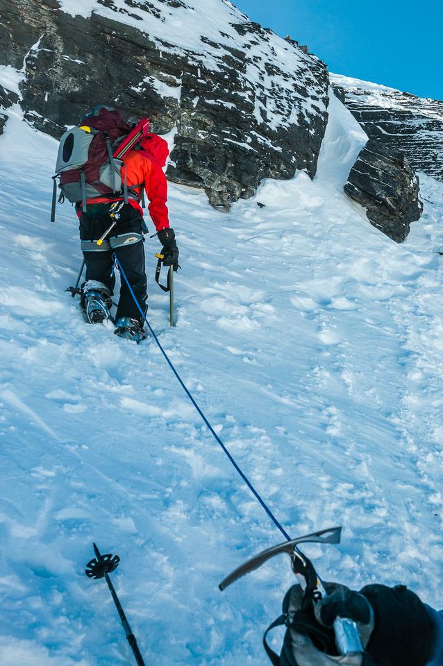 Short roping up the summit block.