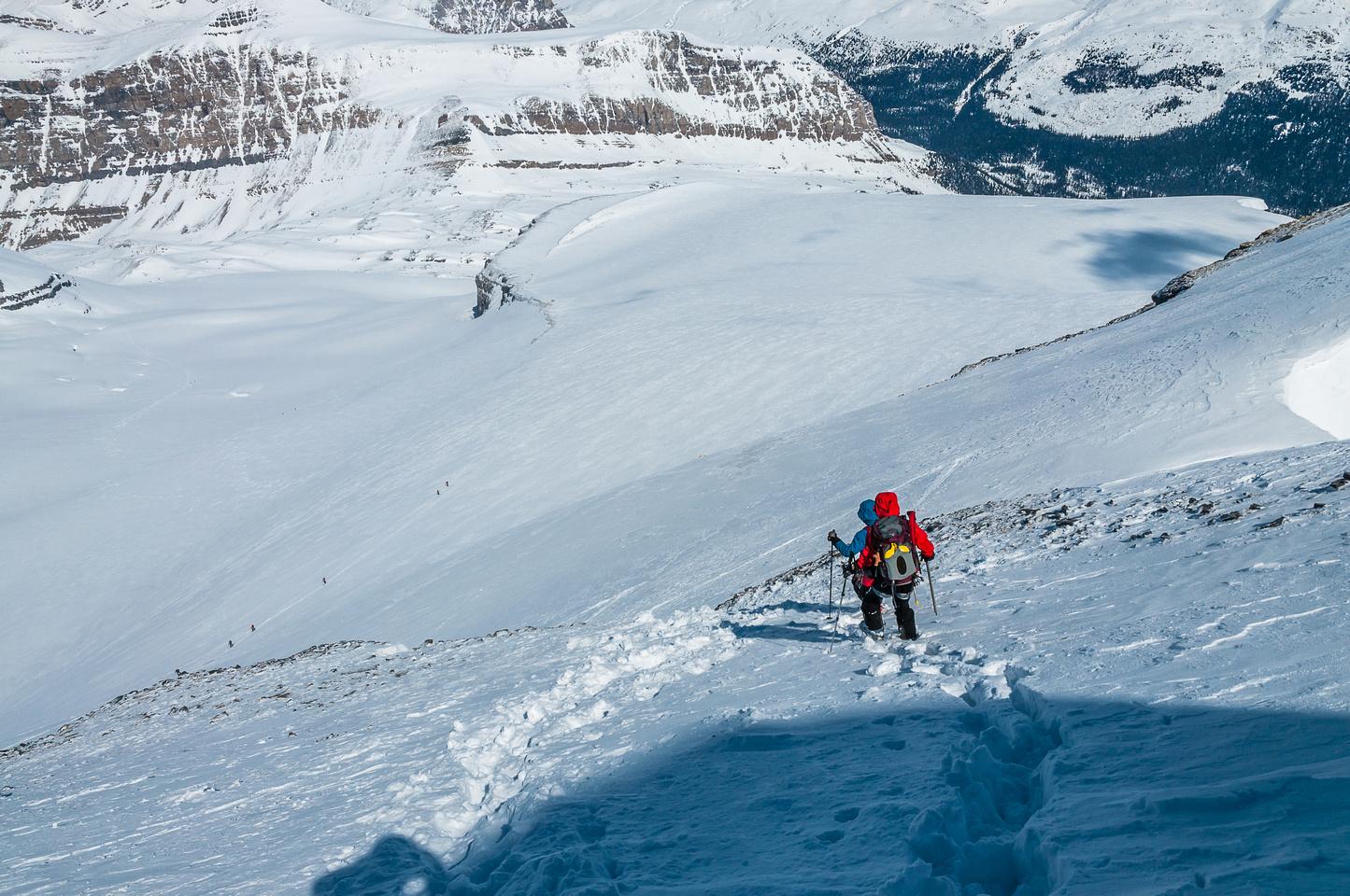 Descending the summit block on Hector.