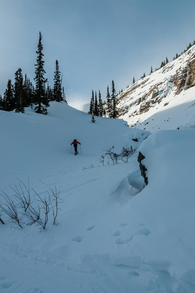 Breaking out of the approach canyon is always a steep grunt. This is also where most avalanche hazard is.