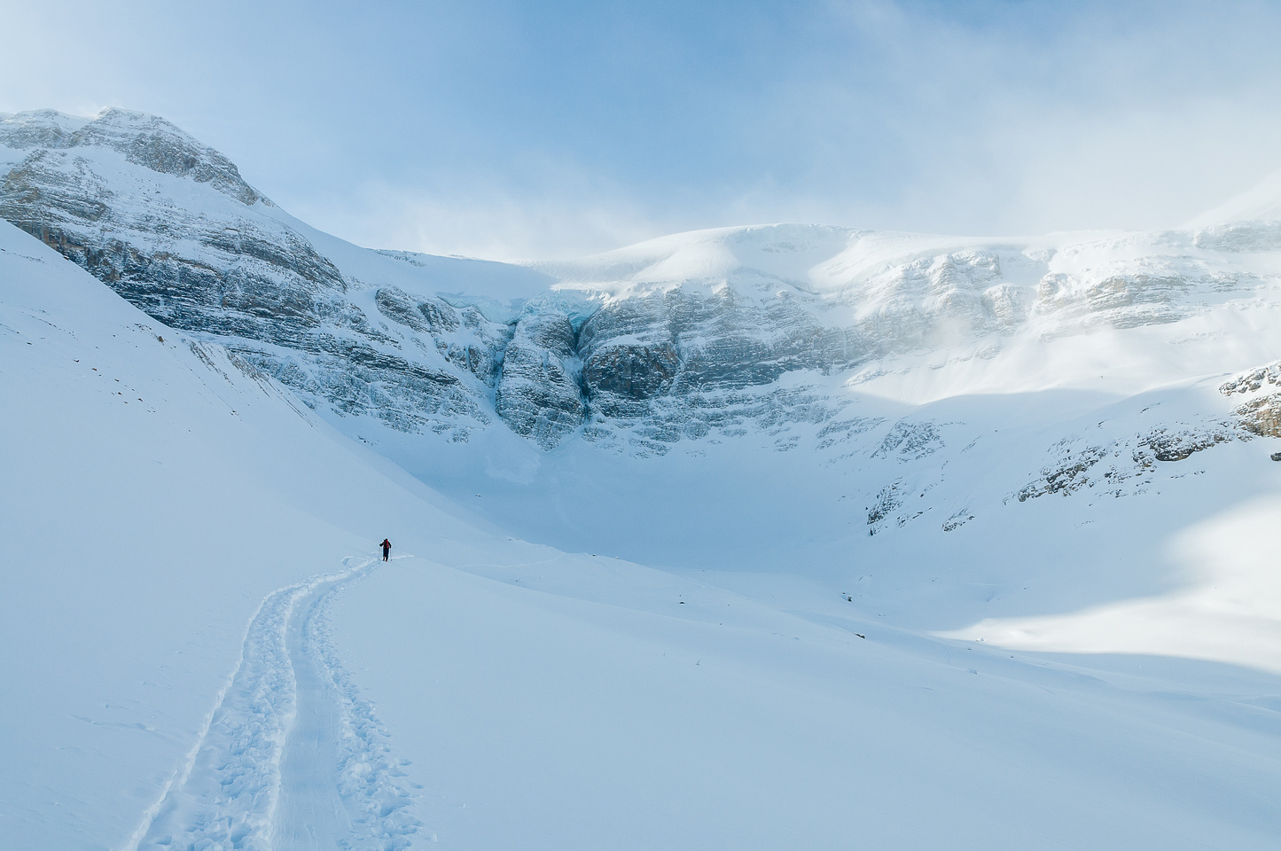 Traversing towards the back bowl under the Bow Hut and Vulture Peak.