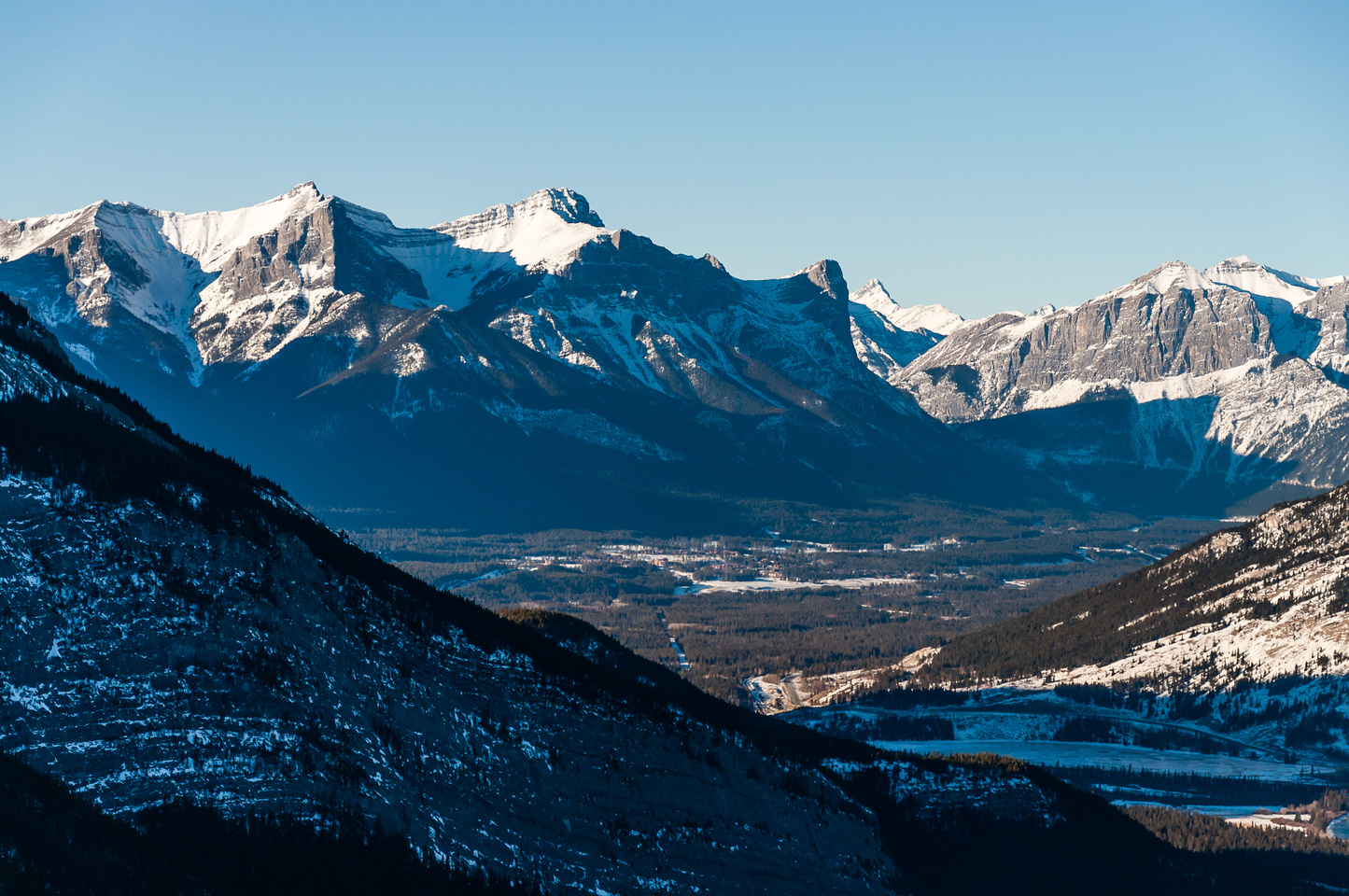 Views over Canmore to Ha Ling, Lawrence Grassi and Ships Prow.