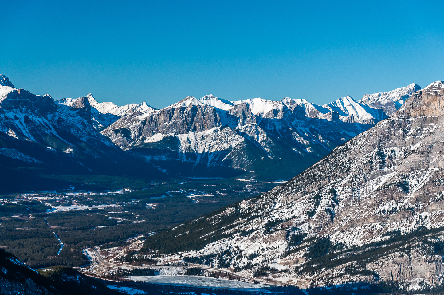 Ha Ling and Rundle over the town of Canmore.