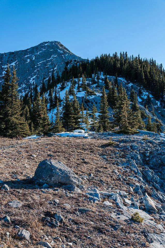 Descending the NE ridge from Grant MacEwan.