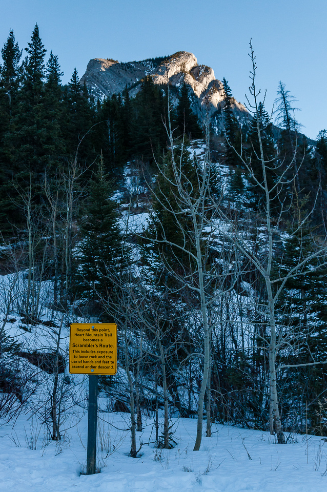 Heart Mountain along with a warning sign.