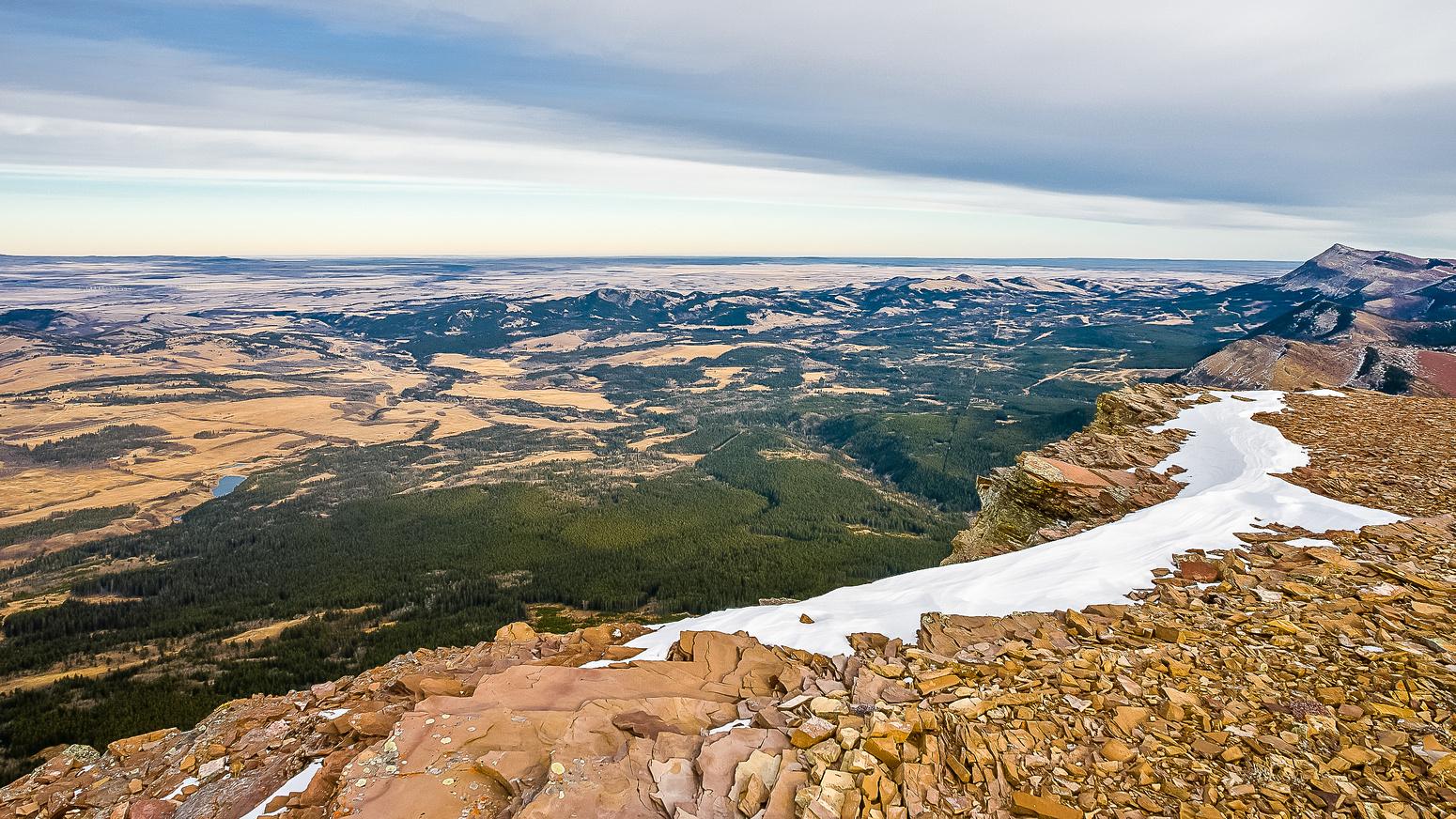 Great view off the summit ridge towards the prairies.