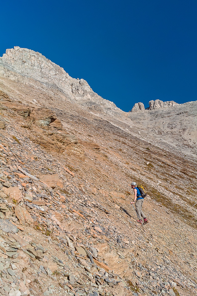 Scree bash, back on the Kane route.