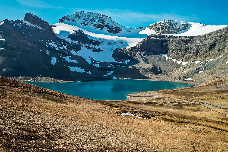 Stunning view of Caldron Lake with Peyto Peak rising above it.
