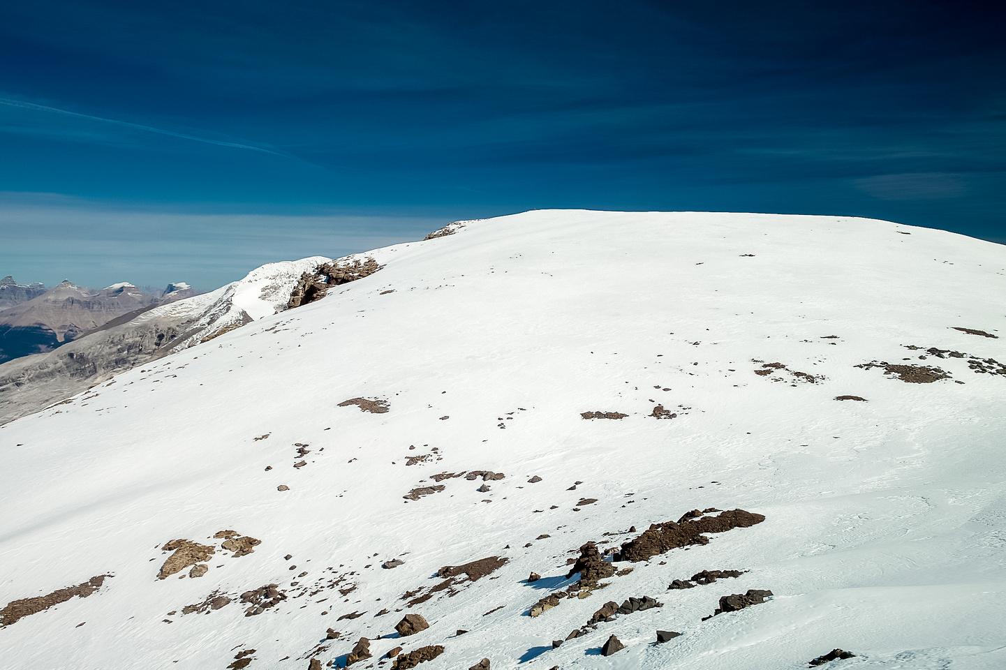 The summit ridge of Mistaya is gentle glacier / snow.
