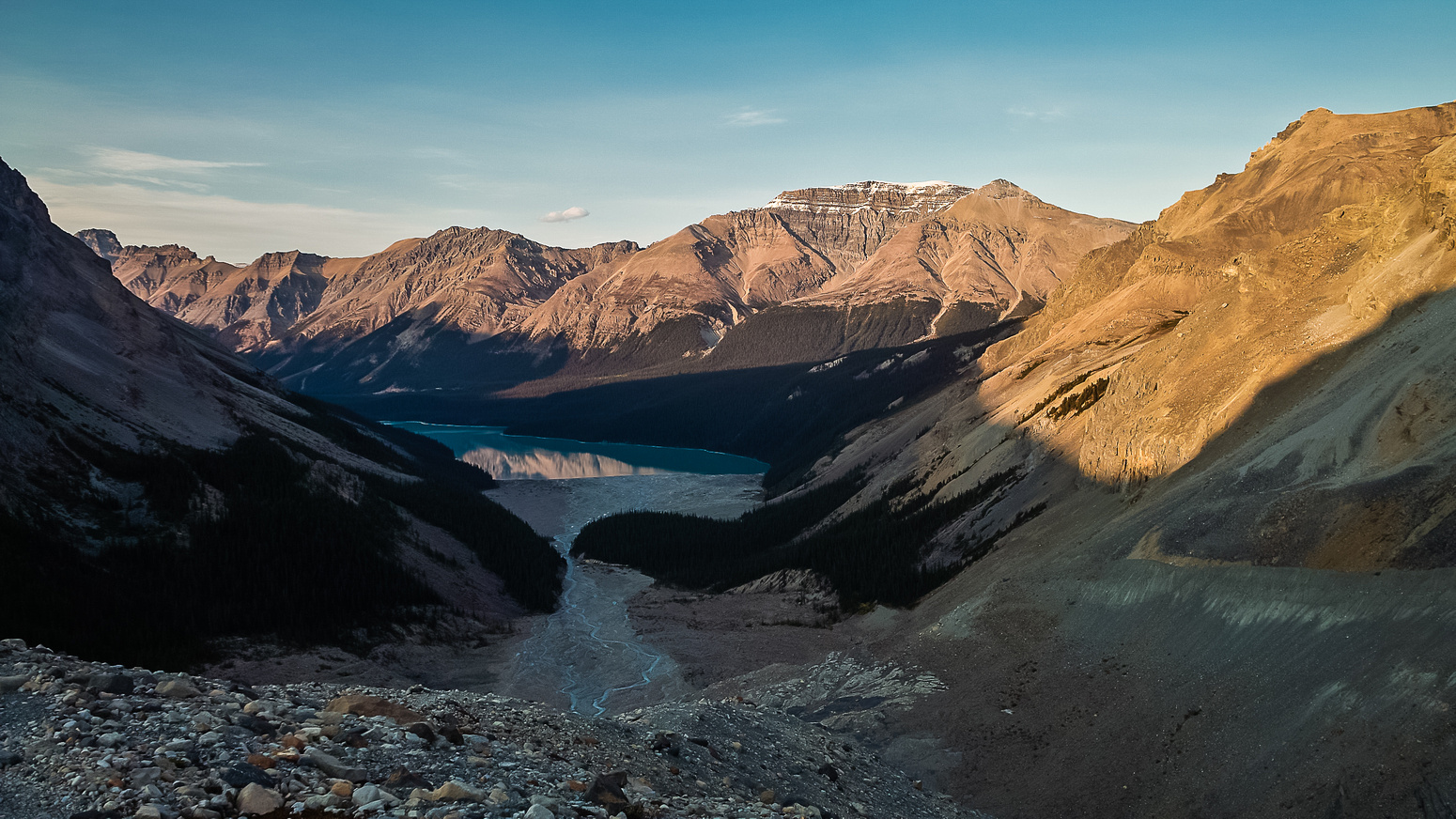 Looking down the moraine towards Peyto Lake - note the setting sun!