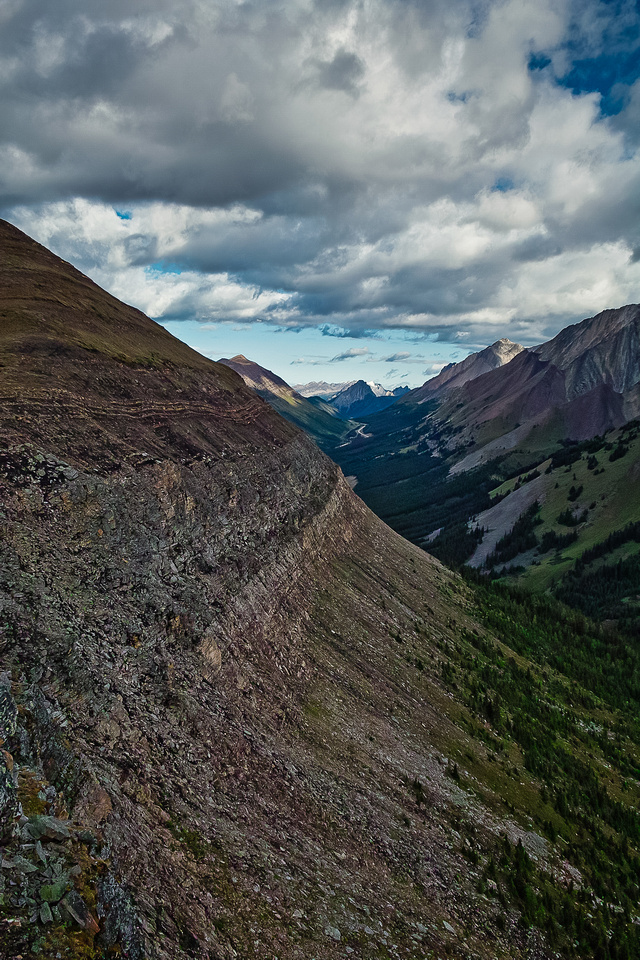 Looking along the north side of Lipsett towards our approach route with hwy 40 and the Highwood Pass in the distance.