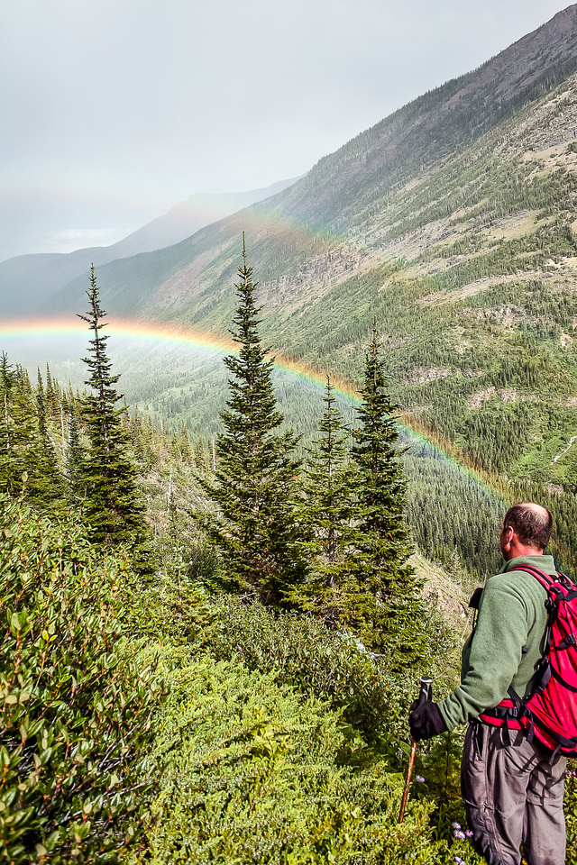 A rainbow assures us that there's no more bushwhacking ahead.