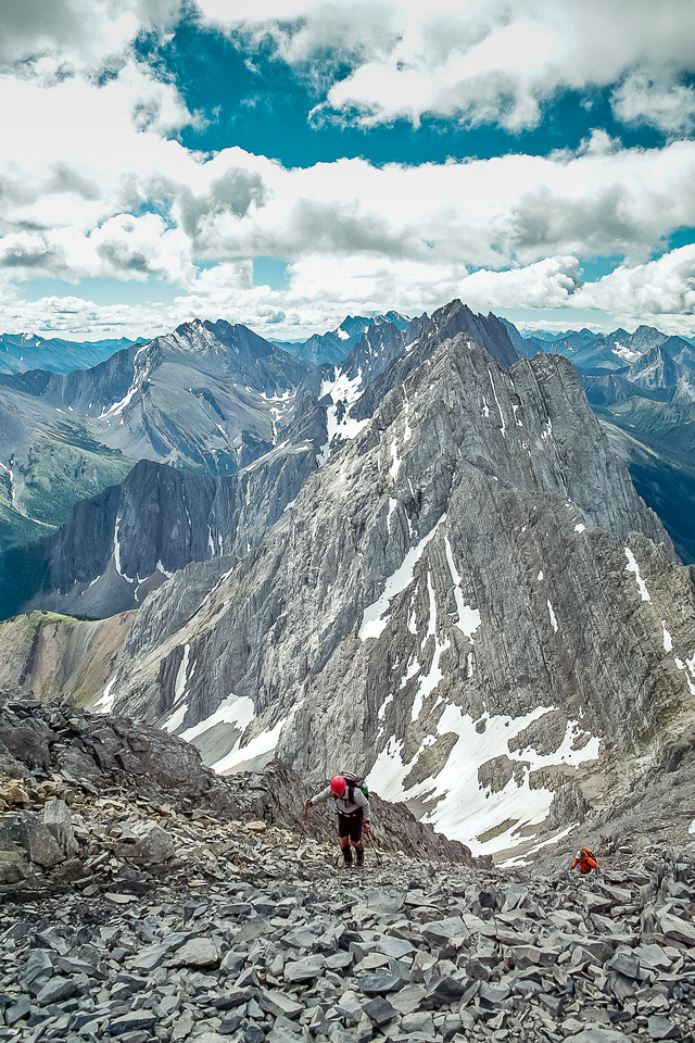 Ascending scree from the col.