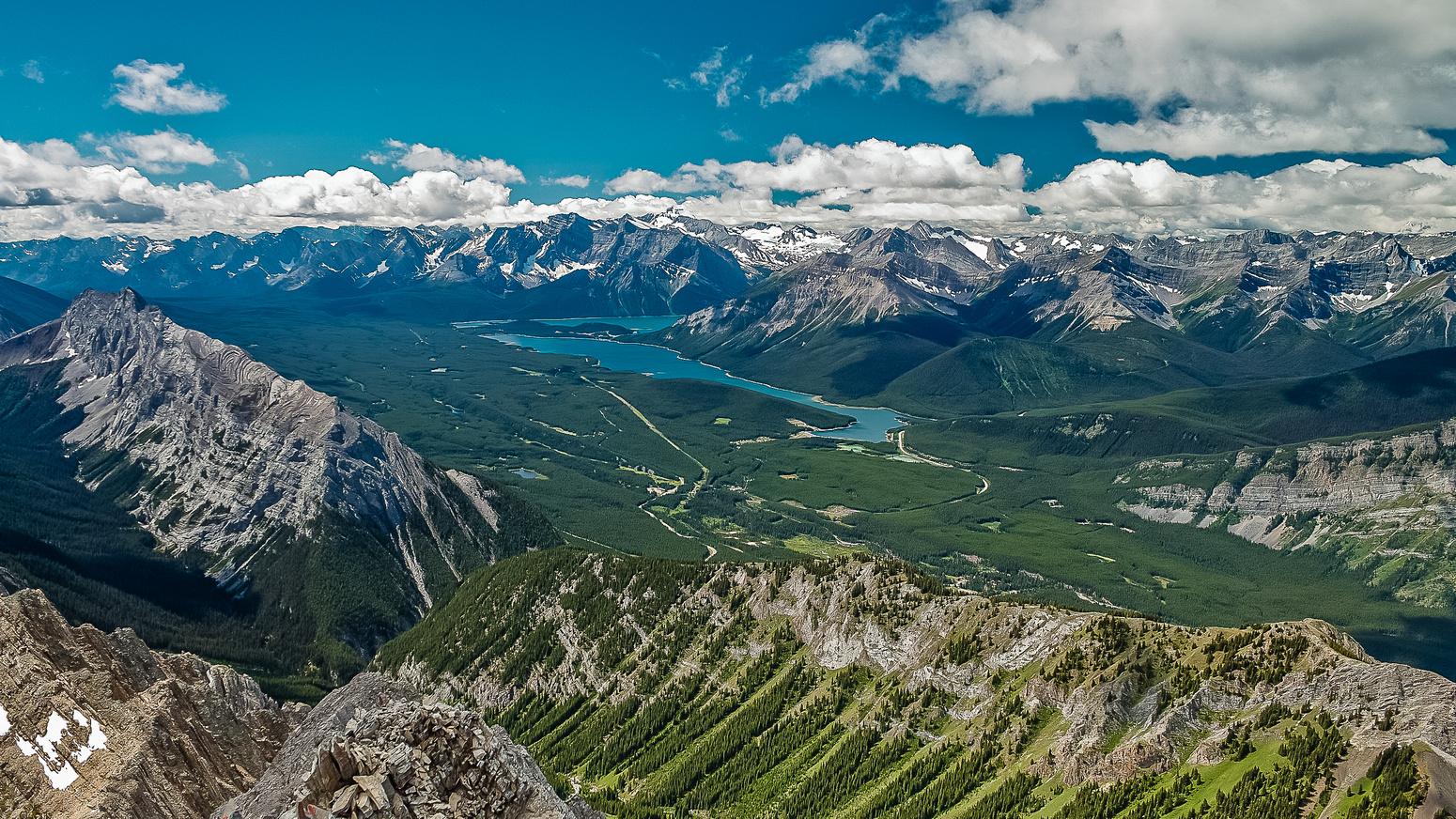 Amazing view looking towards the Kananaskis Lakes over King Creek Ridge and Mount Wintour.