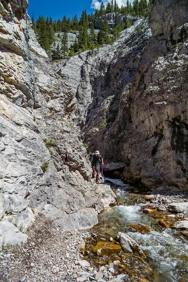 Hiking out along King Creek.