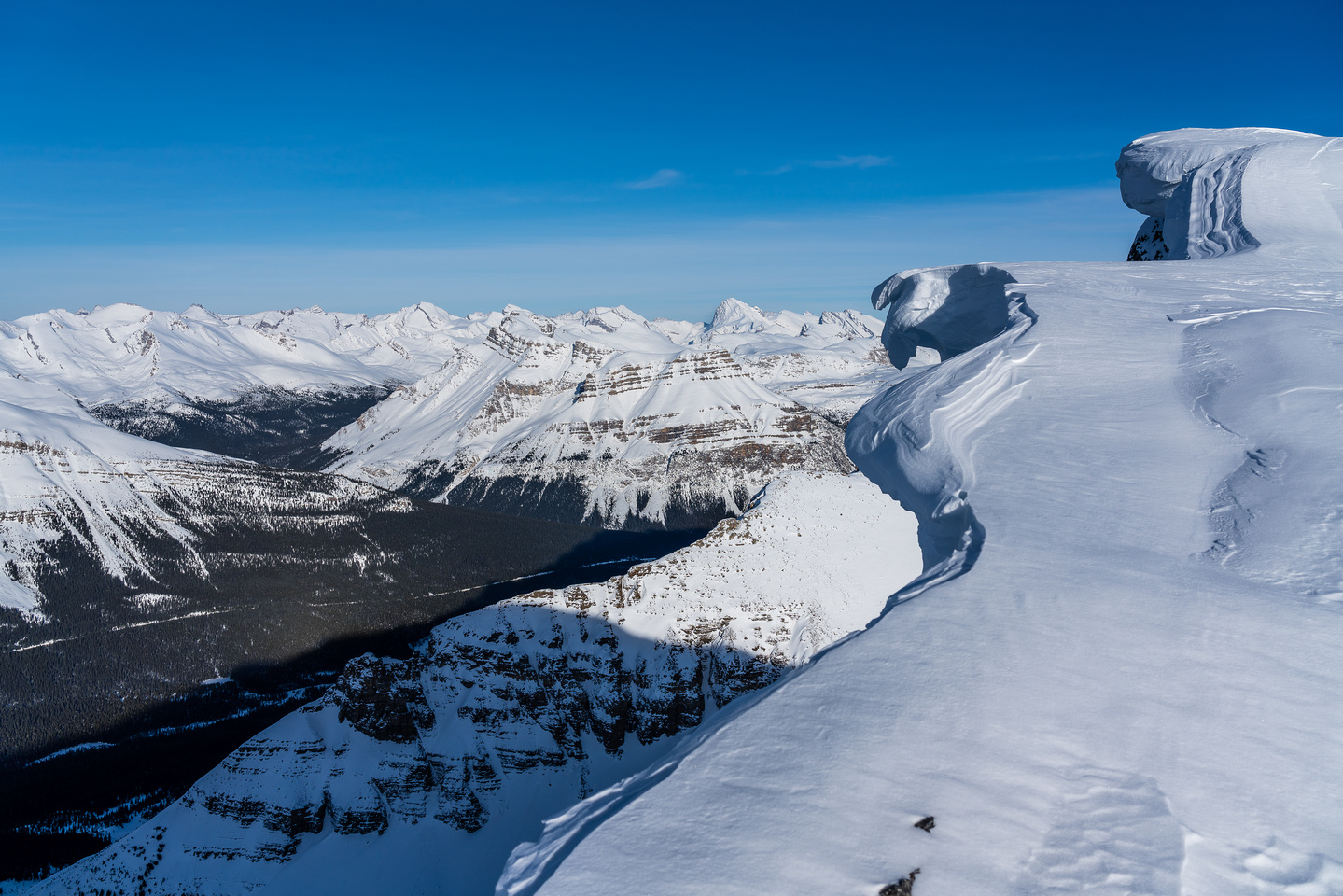 The massive summit cornice with Mosquito Creek at lower left.