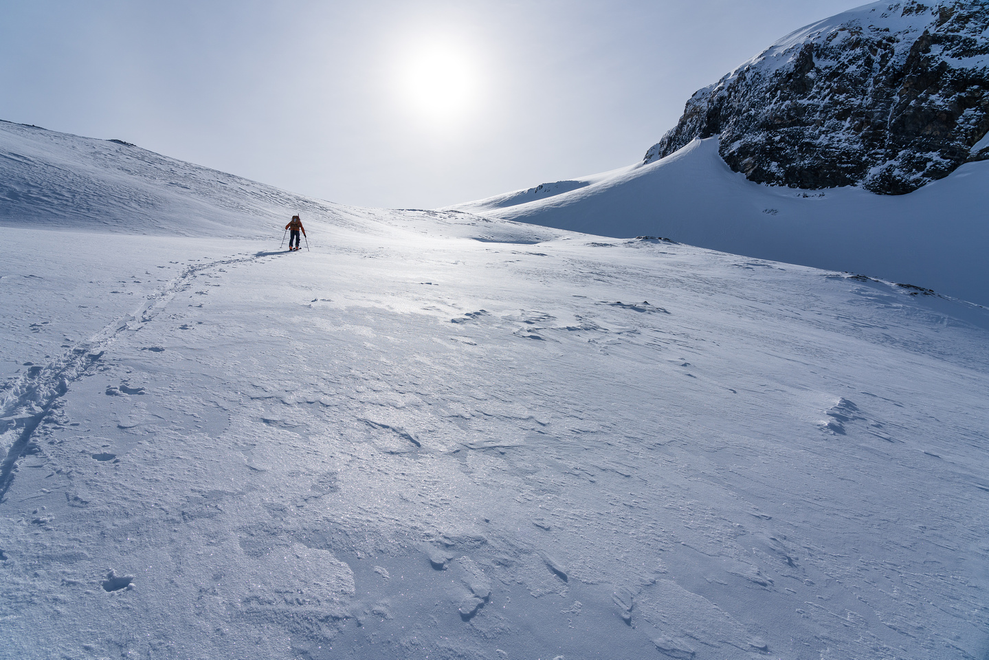 Skinning up to the Crowfoot Glacier.