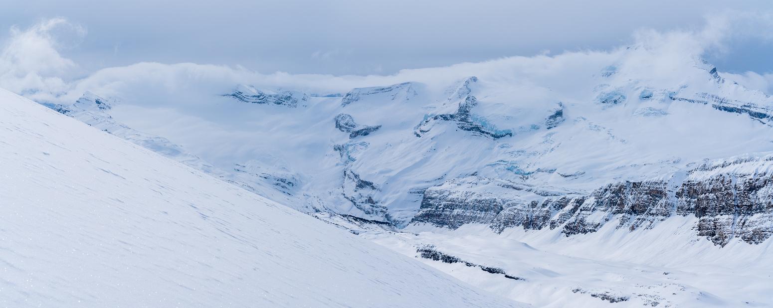 The Waputik Glacier (L) and Mount Balfour (R).