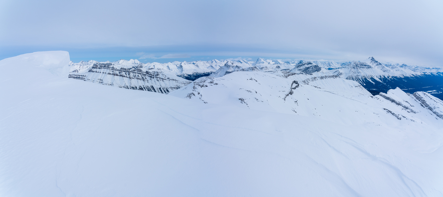 Looking over BowCrow Peak towards Dolomite and Hector (R).