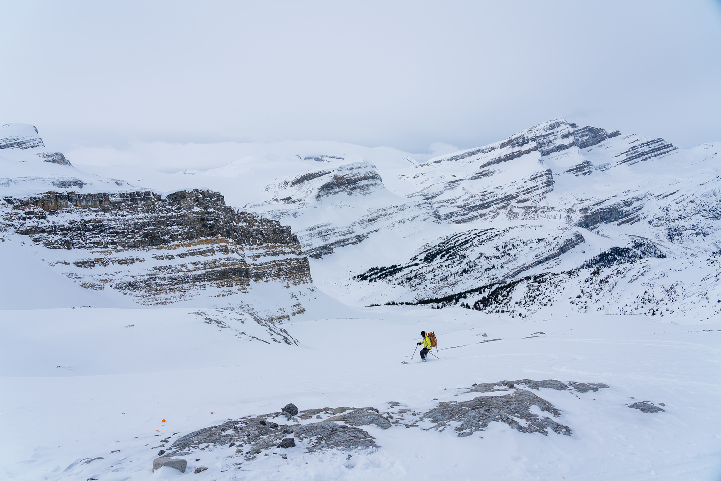 Skiing down to the Bow Canyon.